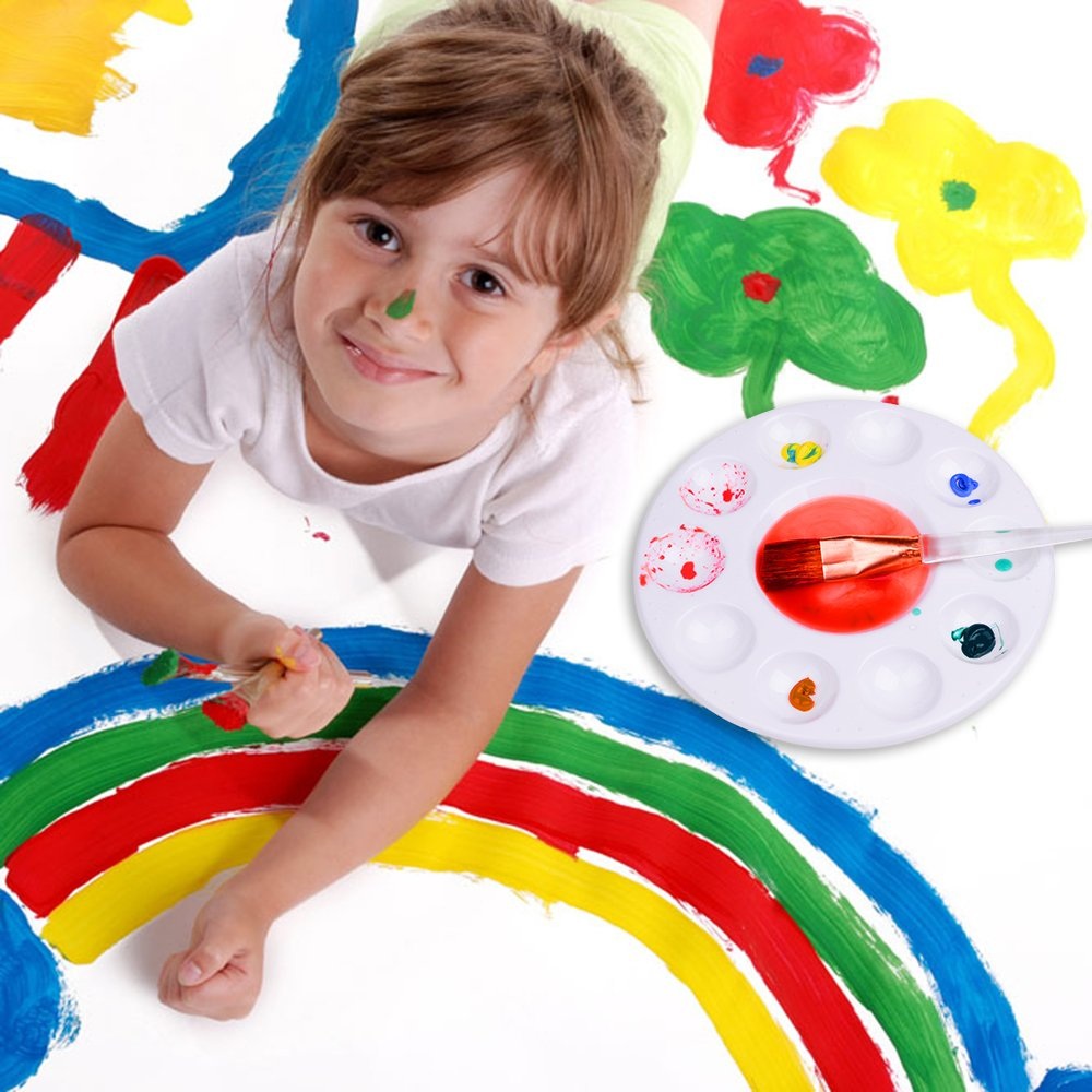 50 Pcs Paint Brushes with 12 Pcs Paint Pallet Trays for Kids and Adults to Create Art Paint
