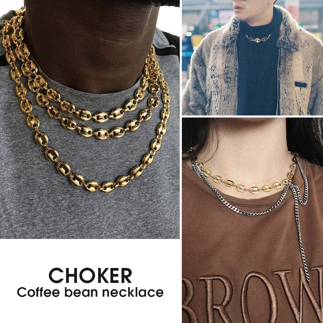 ChainsHouse-Cha/îne de graines de caf/é-Collier Seul Cercle-Long Lien cha/înes Colliers-Largeur 5//10.5MM-Longueur 18-30inch-Bijoux Hip hop pour Unisexe