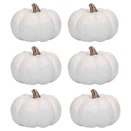 Elanze Designs Set of 6 Ivory 6 Inch Decorative Resin Harvest Pumpkins