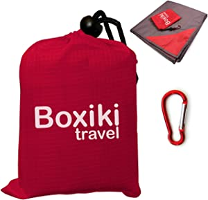 Compact Waterproof Pocket Beach Blanket. Portable Lightweight Folding Tarp with Red Travel Case. Outdoor Picnic Camping Blanket with Easy Attachment Clip
