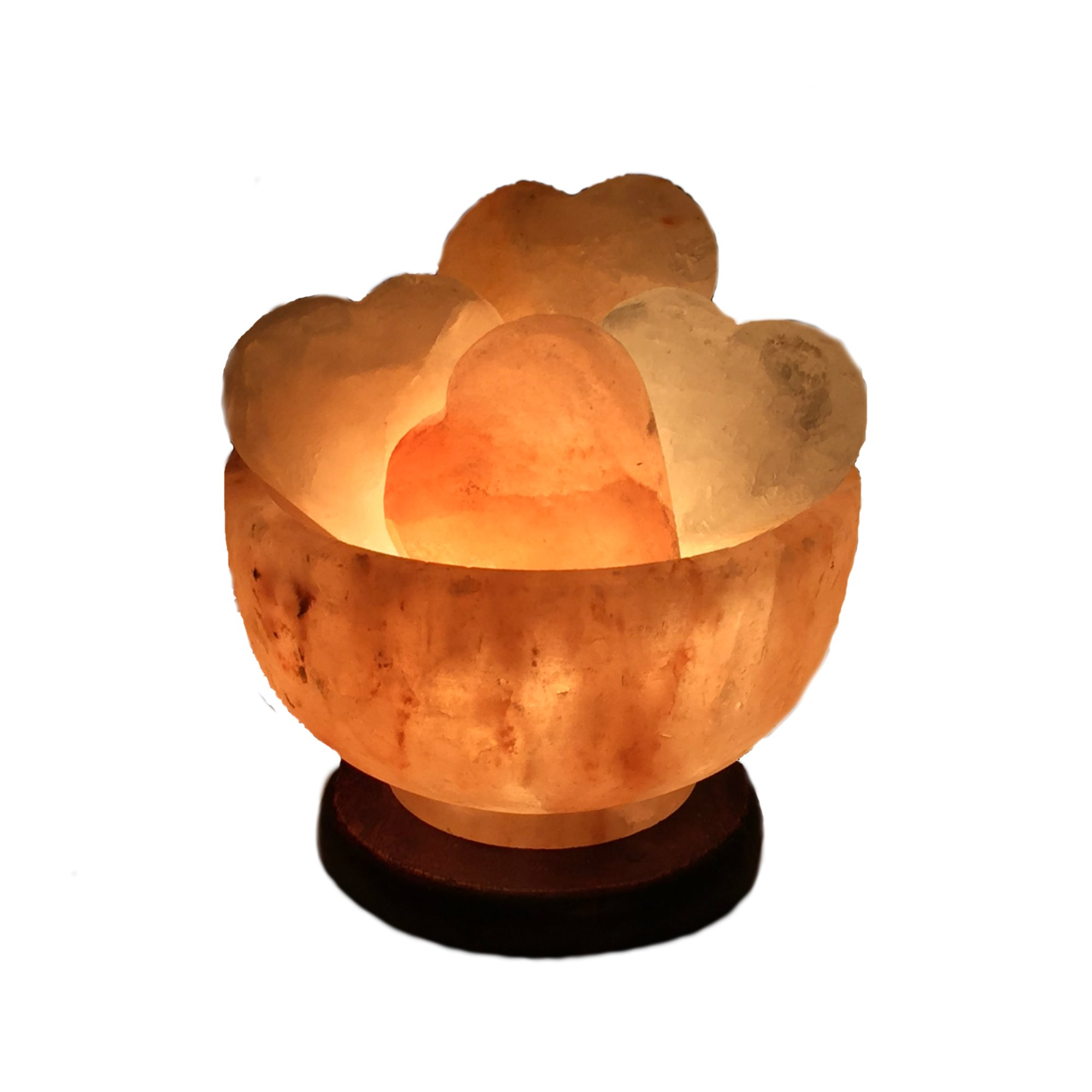 Brighter Living Organics: Himalayan Salt Fire Bowl - Abundance Bowl with Dimmer Switch | Six Shaped Massage Stones | Mounted On a Beautiful Wood Base |6''- 7''| (Heart Shaped Stones)