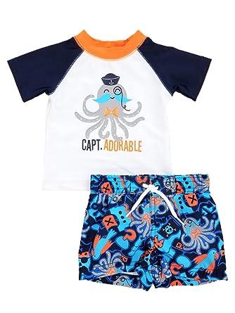 dac33c69a0 Amazon.com: Infant Boys Capt. Adorable Octopus Rash Guard & Swim ...