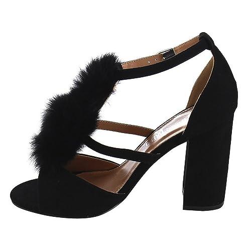 Women's Strappy Open Toe Pom Pom Chunky Stacked Block Heel Sandal