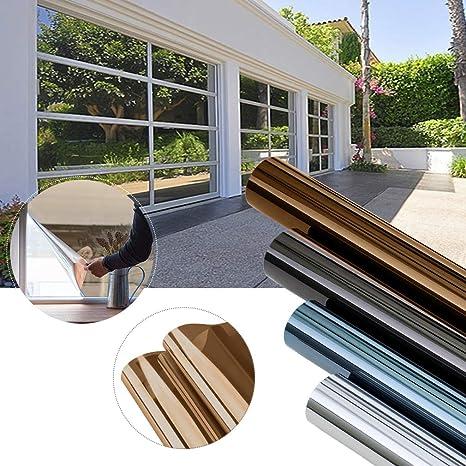 KINLO 45x200cm verspiegelte Folie Sonnenschutz selbstklebend Fensterfolie  Sichtschutz und Hitzeschutz Sichtschutzfolie Spiegelfolie für Fenster ...