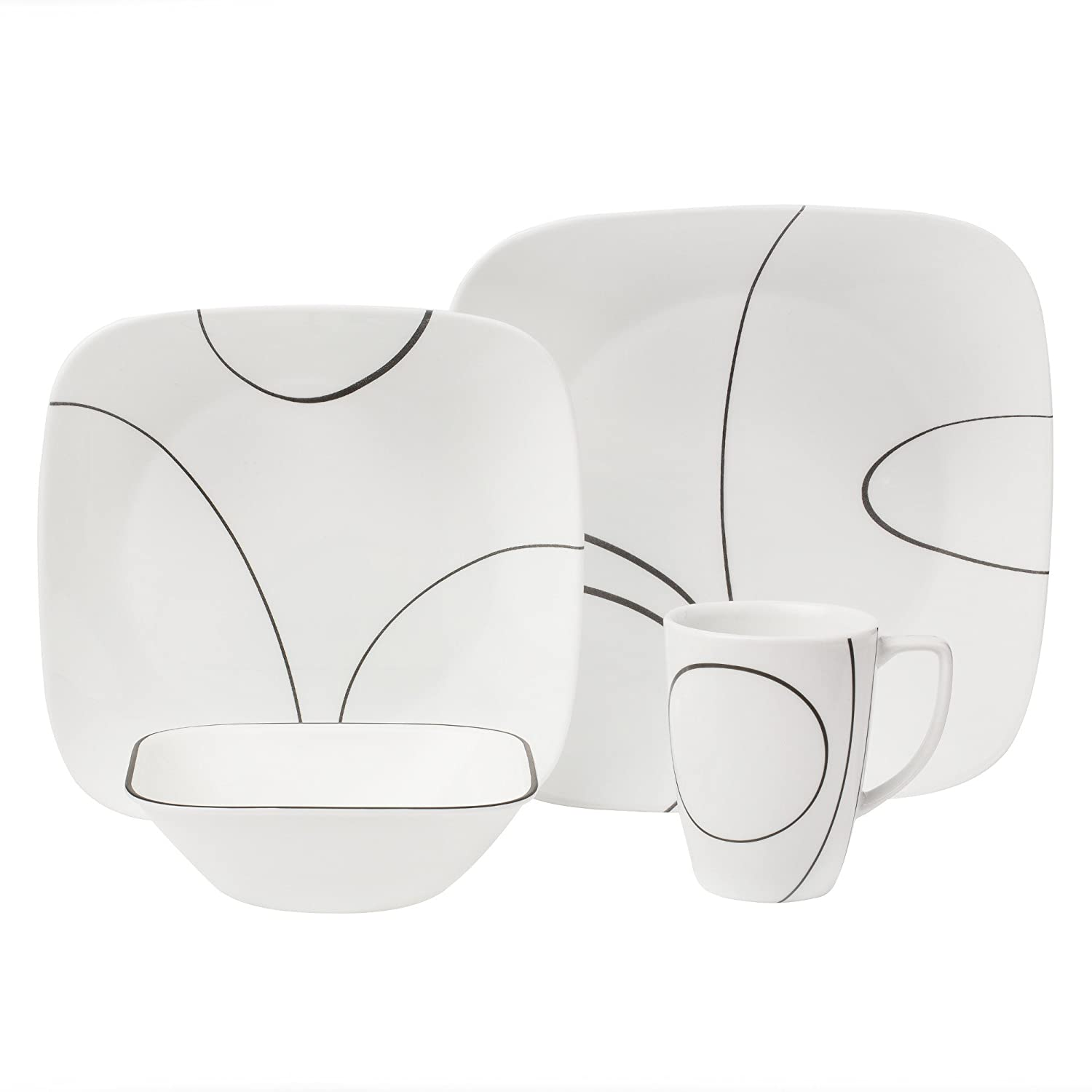 Corelle Simple Lines Square 16pc Dinner Set: Amazon.co.uk: Kitchen U0026 Home