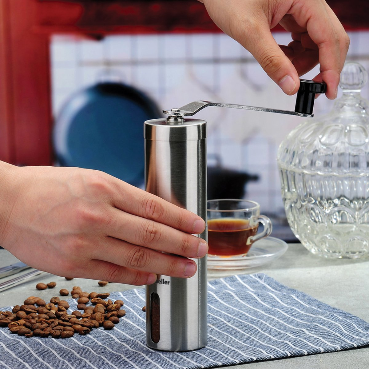 Mueller Ultra-Grind - Strongest and Heaviest Duty Portable Conical Burr Mill, Whole Bean Manual Coffee Grinder for French Press, Turkish, Handheld Mini, K Cup, Brushed Stainless Steel by Mueller Austria (Image #6)
