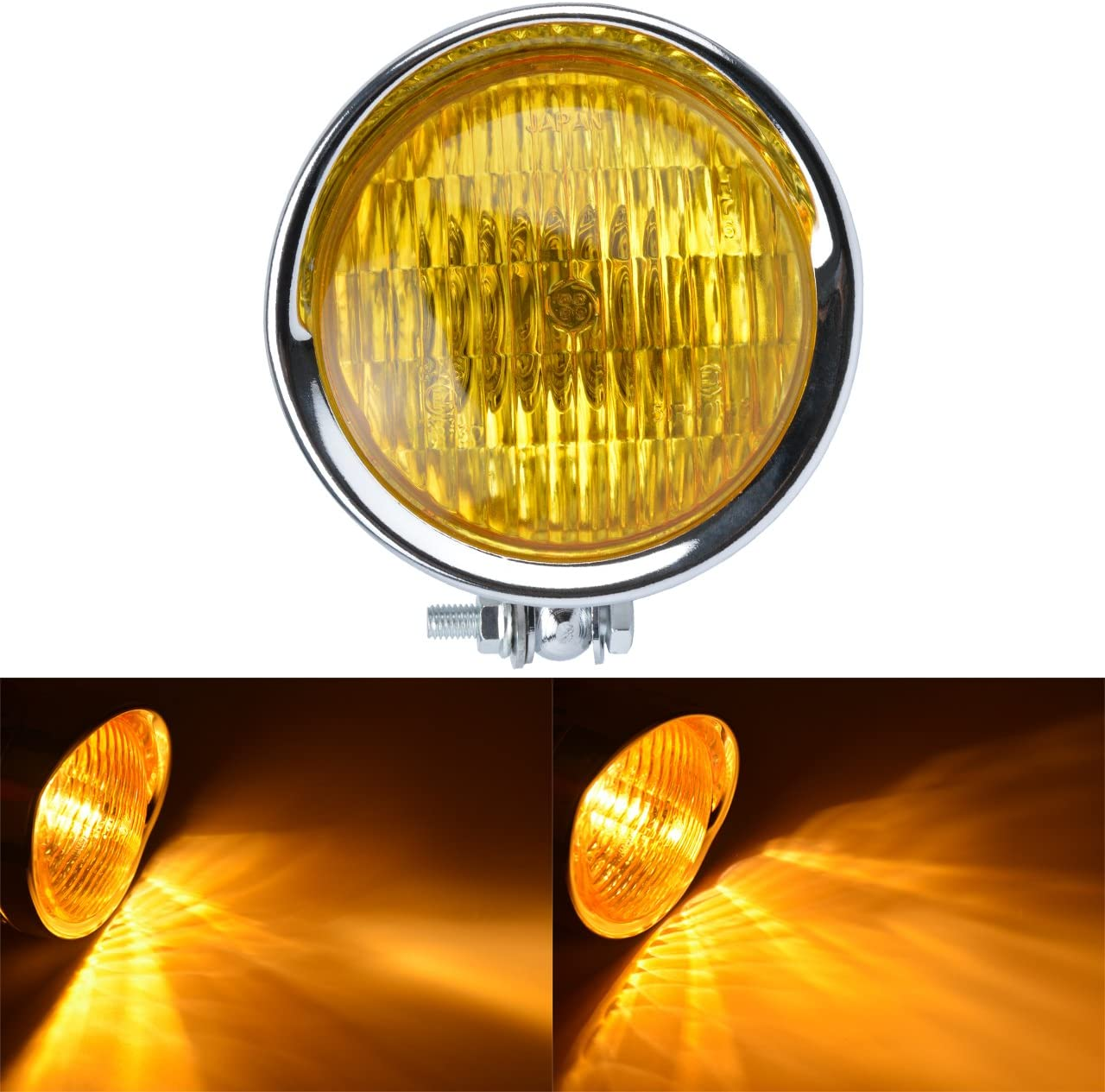 Bernsteinfarbenes Licht NATGIC 6,5Motorrad Scheinwerfer Universal Scheinwerferlampe Schwarzes Geh/äuse /& Wei/ße Linse Einzelne Scheinwerfer Gl/ühlampe Lampe