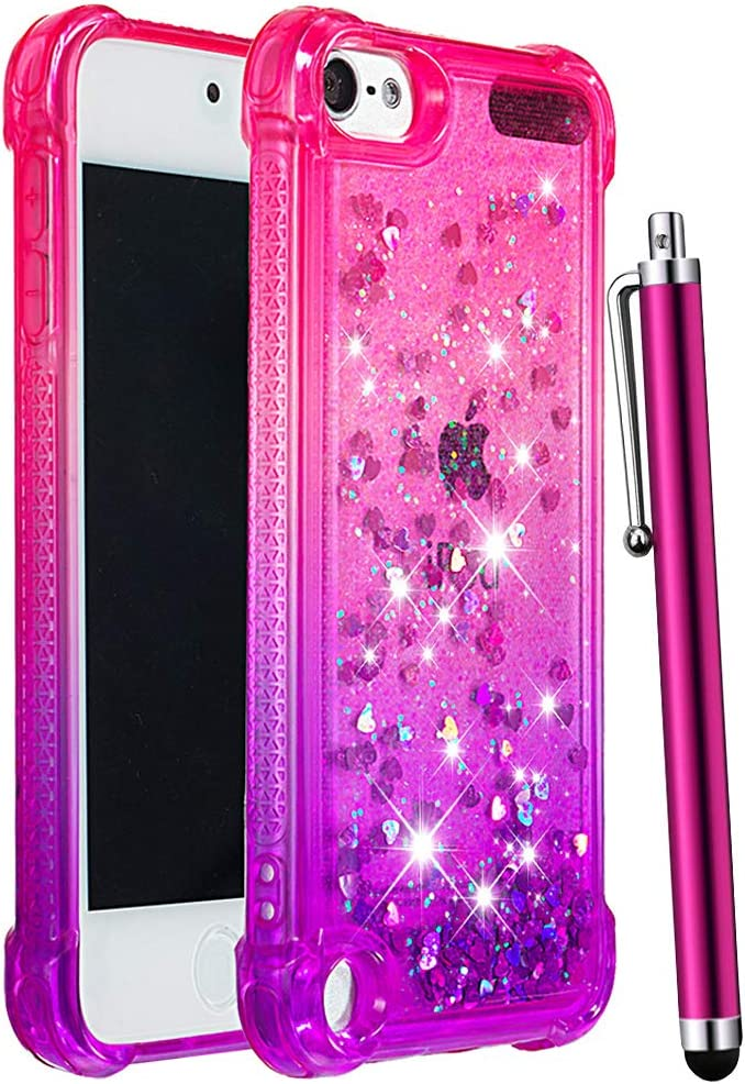 CAIYUNL iPod Touch 7 /iPod Touch 6 /iPod Touch 5 Case for Girls Women Kids,Glitter Bling Sparkle Shiny Liquid Floating Clear TPU Protective Phone Case for iPod Touch 7th/6th/5th Generation-Pink/Purple