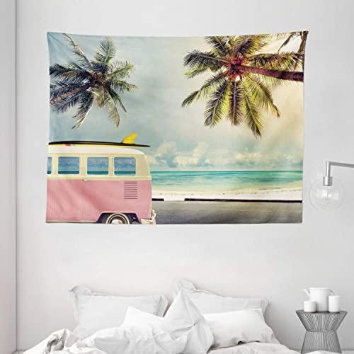 Ambesonne Surf Tapestry, Minivan The Beach Retro Inspired Vacation Clouds in Summer Sky Honeymoon Destination, Wide Wall Hanging for Bedroom Living Room Dorm, 80 X 60 , Blue Blush