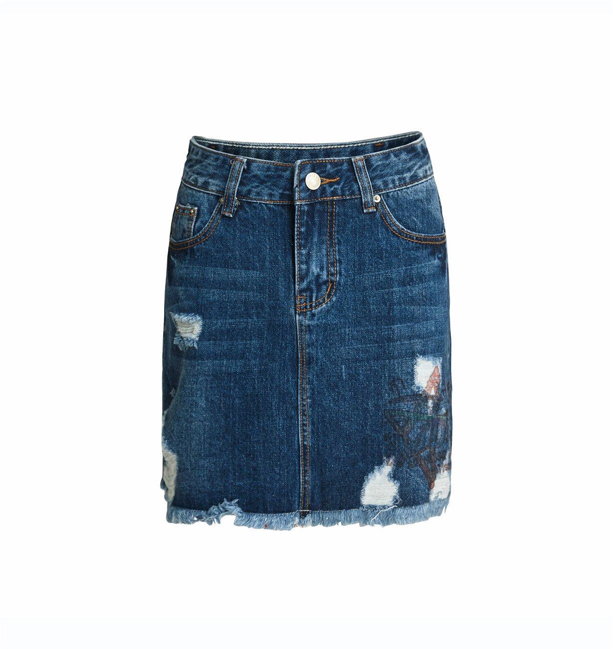 Women's Casual Distressed Ripped A-Line Denim Short Skirt (Navy Blue, Medium)