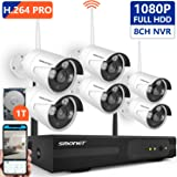 [8CH Expandable] Wireless Security Camera System,SMONET 8CH 1080P H.264 PRO Wireless NVR System(1TB Hard Drive) with 6pcs 2.0MP IP Cameras,P2P, 65ft Night Vision,Easy Remote Monitoring