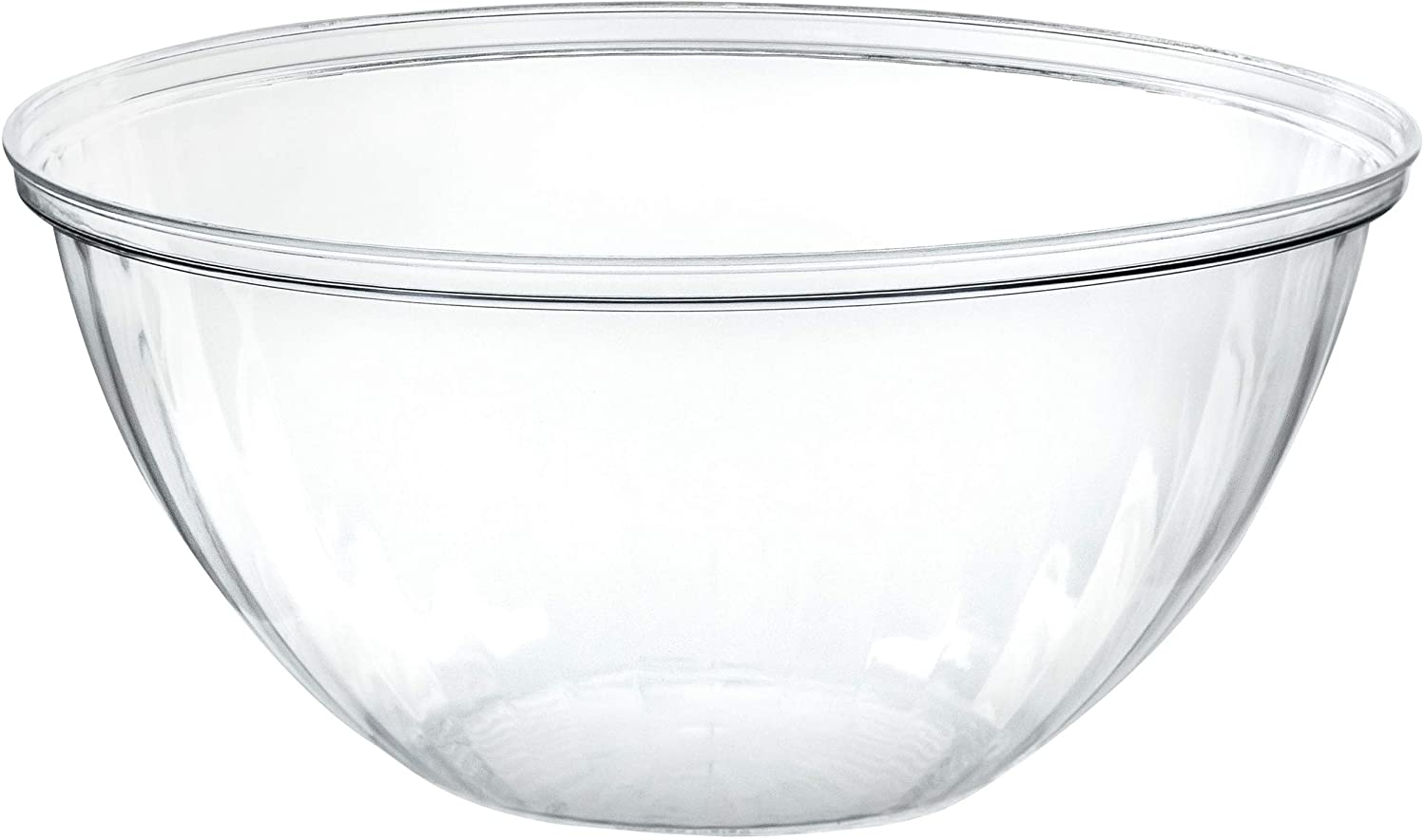 Plasticpro Disposable Round Crystal Clear Serving Bowls, Party Snack or Salad Bowl, Plastic Clear Chip Bowls, Party Snack Bowls, Candy Dish, Salad (2, 96 OUNCE)