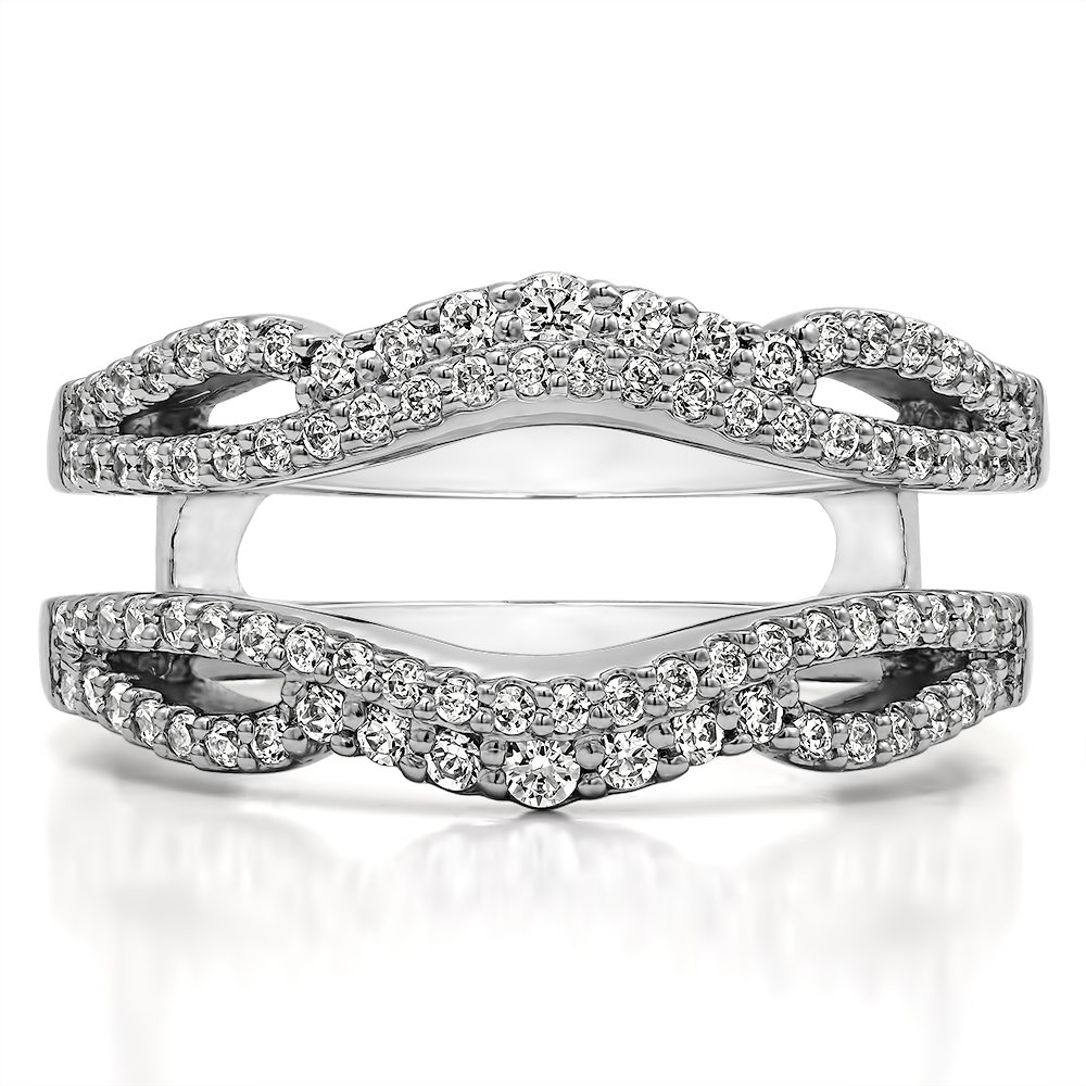 G,I2 Double Infinity Wedding Ring Guard Enhancer in Sterling Silver with Diamonds TwoBirch 0.57 Ct