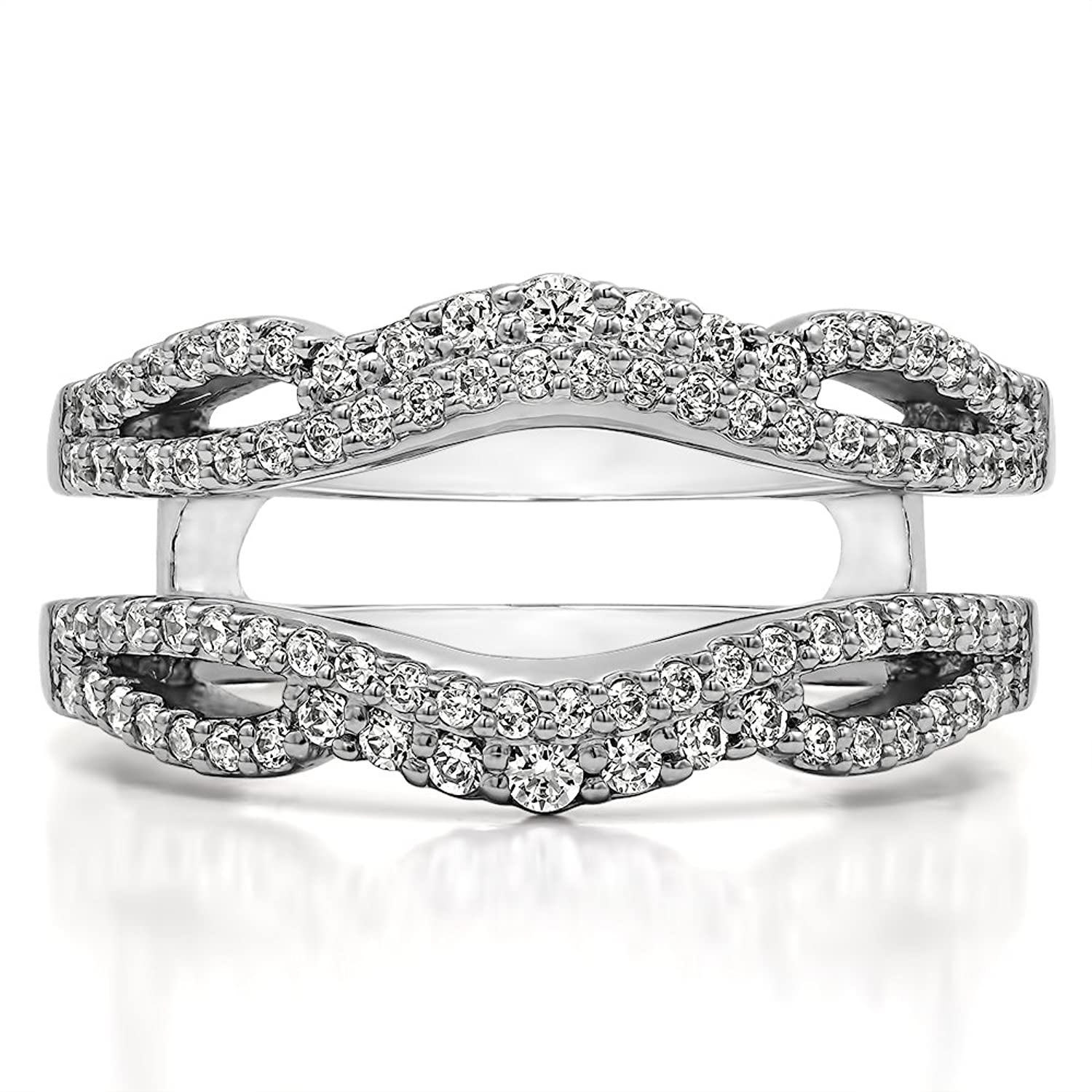 amazoncom sterling silver double infinity wedding ring guard enhancer with diamonds g hi2 i3 049 ct tw jewelry - Wedding Ring Guards