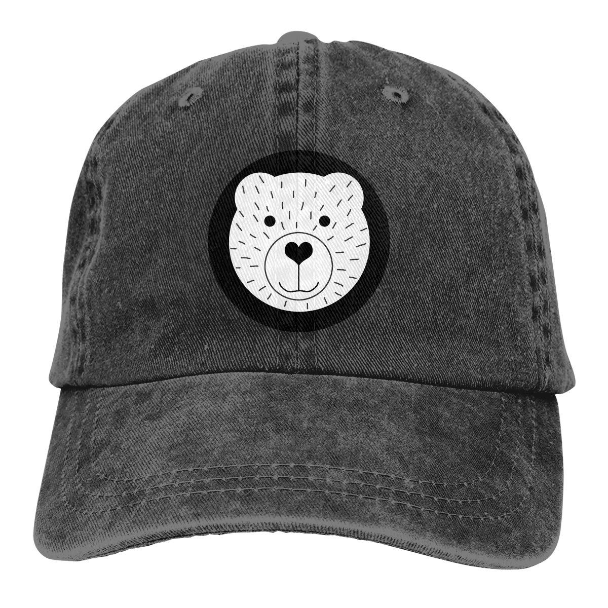 Qbeir Adult Unisex Cowboy Cap Adjustable Hat Bear Cartoon Cotton Denim