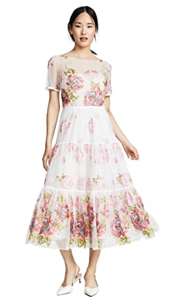 fd52b2d7769 Marchesa Notte Women s Floral Embroidered Tea Length Gown at Amazon ...