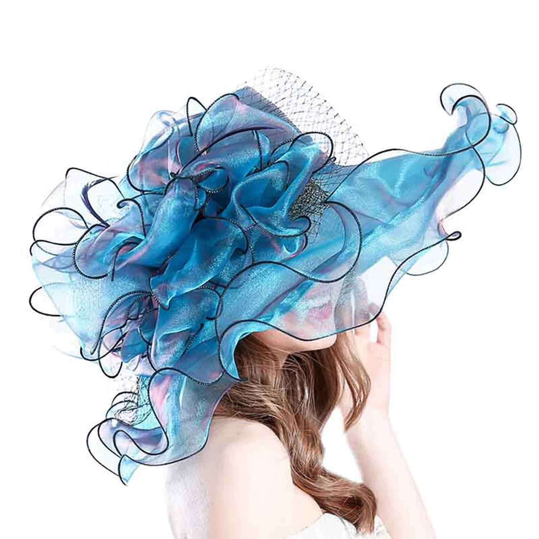 Minyu Women Elegant Ladies Church Vintage Hat Wide Large Brim with Big Flower Fedoras,Blue