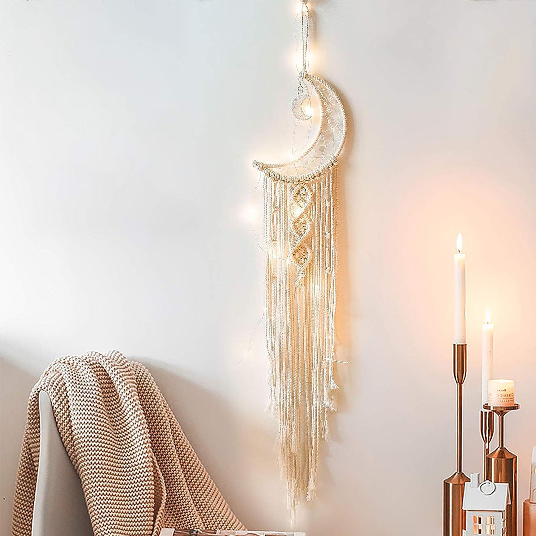 Yimerlen LED Dream Catcher,Beige Handmade Half Circle Moon Design Light up Macramé Moon Dream Catcher for Boho Wall Decor,Bohemian Fairy Dream Catcher Light for Bedroom Wall Hanging Gift,(Moon& Star)
