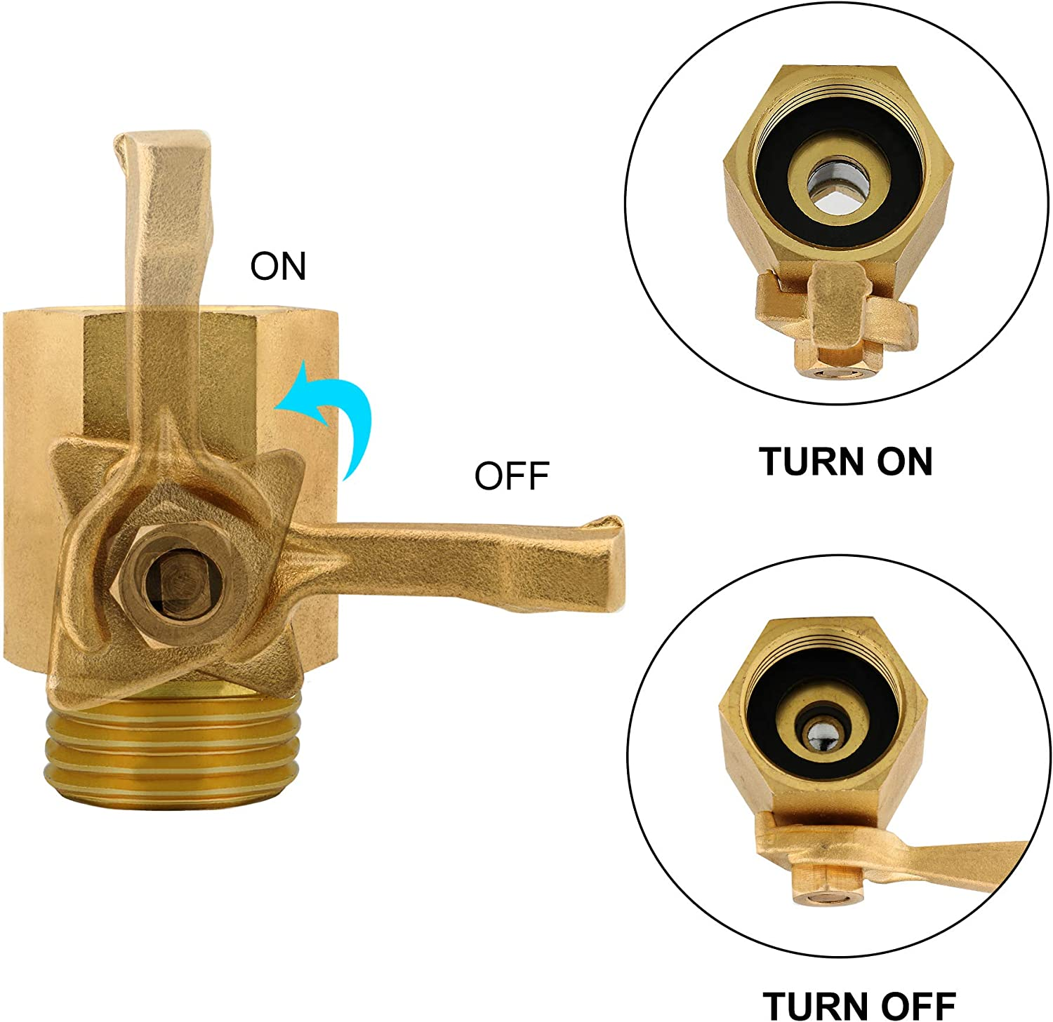 "TOMPOL Heavy Duty Brass Shut Off Valve 3//4/"" Solid Garden Hose Shut Off Valve Fit All Garden Hose Connector.(2pack /& 4 Hose Washers)"