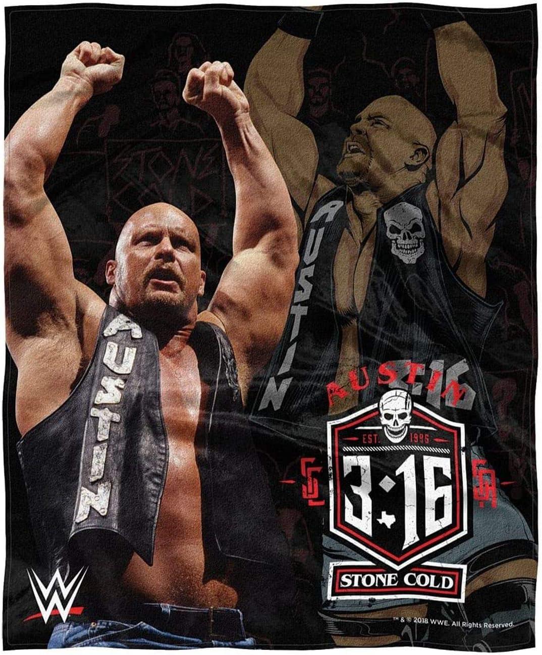 WWE Steve Austin Stone Cold Silky Throw Blanket