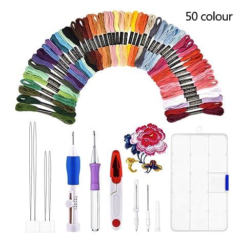 Kit de bordado, BASEIN combinación de juego de herramientas artesanales de aguja de punzonado de