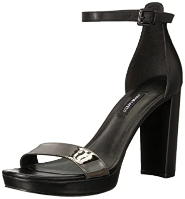 Nine West Women s Dempsey Leather Heeled Sandal Black 12 ... bc916c4a25