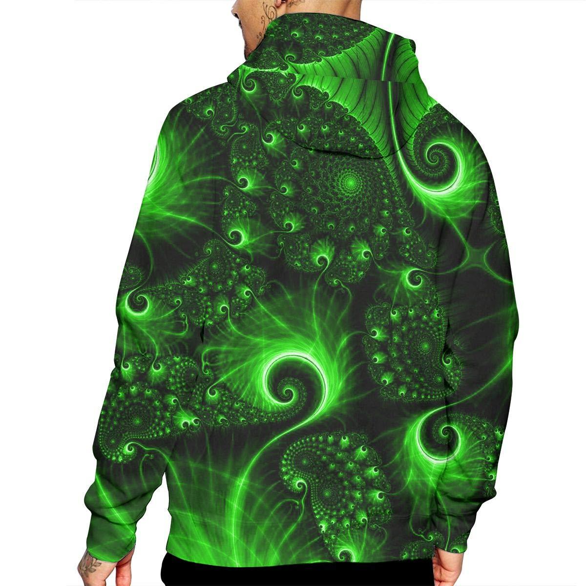 YUANSHAN Green Wallpaper Mans Long Sleeve Hoodie Casual Pocket Hooded Sweatshirt