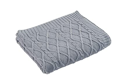 Amazon.com: Aztocratic 100% Cotton Knitted Light Grey Throw ...