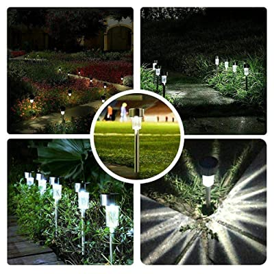 EpicGadget Solar Light, Stainless Steel Solar Path Stake Lights Outdoor Solar Garden Decorative Lights for Walkway Pathway Backyard Decoration Parties (5 Pieces) (Cool White) : Garden & Outdoor