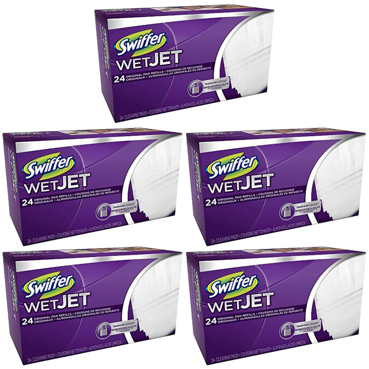 Swiffer WetJet Hardwood Floor, Wet Jet Spray Mop Pad Refills, Original Scent Refill Cloth, 5 Pack (24 Count)
