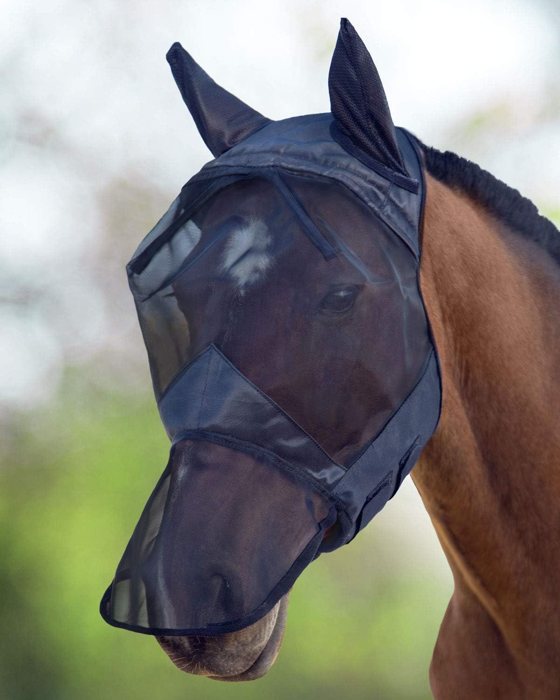 Harrison Howard CareMaster Máscara Anti-Moscas Protección con Orejas y Nariz Negro