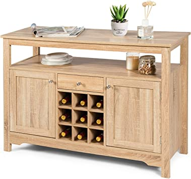 Amazon Com Giantex Buffet Server Sideboard Console Table Wood Dining Table Cupboard Table With 2 Cabinets 1 Drawer And 9 Wine Cabinets Storage Organizer Kitchen And Dining Room Natural Buffets Sideboards