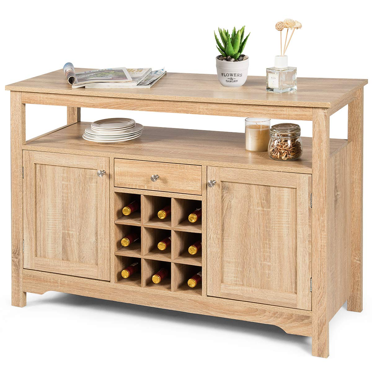 1 Drawer and 9 Wine Cabinets Wood Dining Table Console Table Cupboard Table with 2 Cabinets Storage Organizer Kitchen and Dining Room Giantex Buffet Server Sideboard Natural