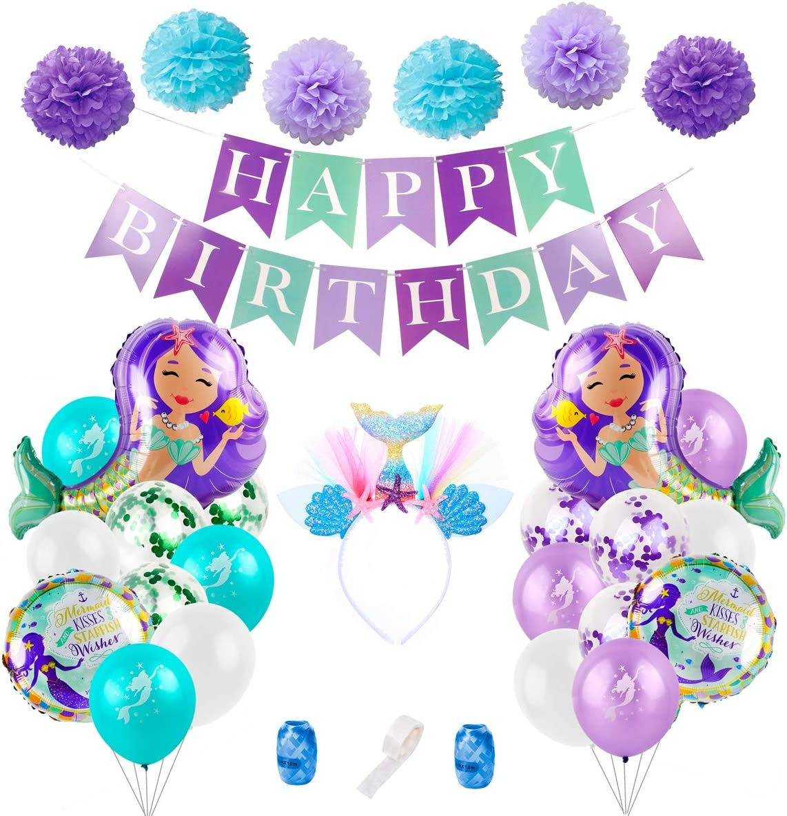 Pom Poms and Headband Perfect for Little Mermaid Theme Party Baby Shower Girl 1st 2nd 3rd Birthday Mermaid Balloons Birthday Party Decorations 31 Pcs Mermaid Party Supplies Including Mermaid Balloons Birthday Banner