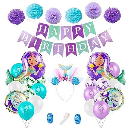 Amazon.com: Globos de sirena decoraciones de fiesta de ...