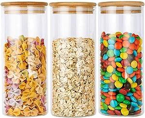 Glass Food Storage Jar with Airtight Bamboo Lid, BPA Free High Borosilicate Glass Container (48oz - 3 Jars)