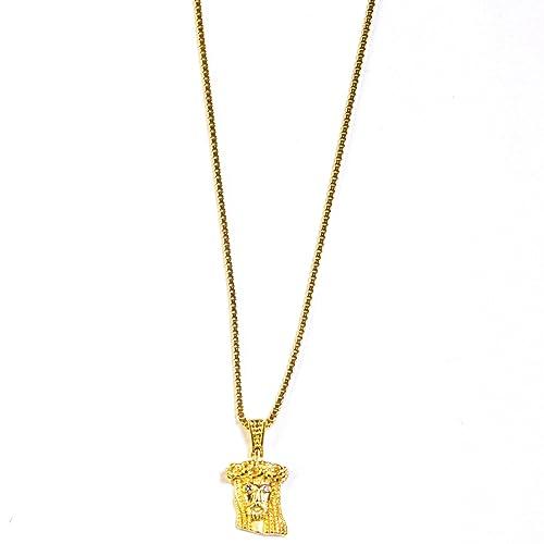 Amazon.com: Extra Mini, color dorado Jesús pieza Collar ...