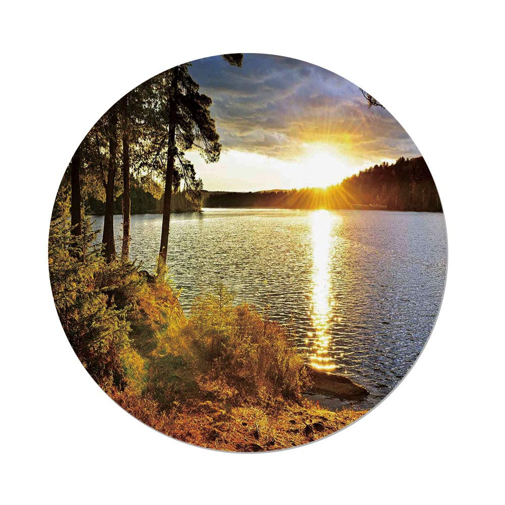 iPrint Polyester Round Tablecloth,Landscape,Sunset Dawn in the Forest over Lake of Two Rivers Algonquin Park Ontario Canada,Multicolor,Dining Room Kitchen Picnic Table Cloth Cover,for Outdoor Indoor