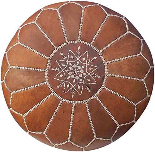 Maison Marrakech| Beautiful Handmade Real Leather Footstool Pouf from Marrakech