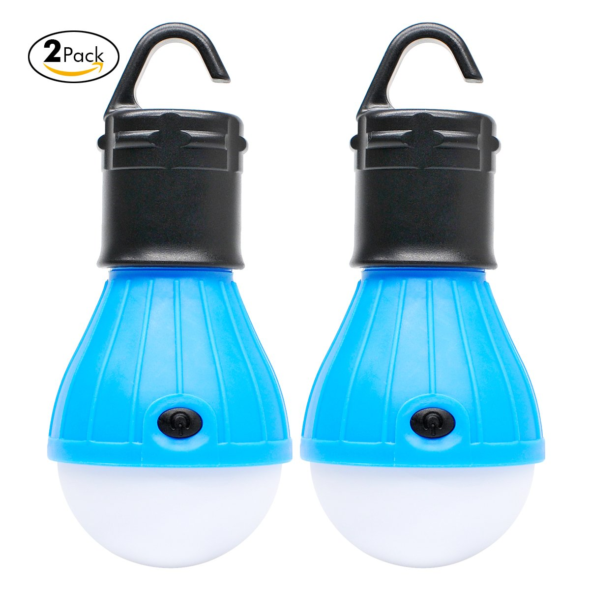 2 Pack Sanniu Portable LED Lantern Tent Light Bulb for Camping Hiking Fishing Emergency Light, Battery Powered Camping Equipment Gear Gadgets Lamp for Outdoor & Indoor(BLUE)