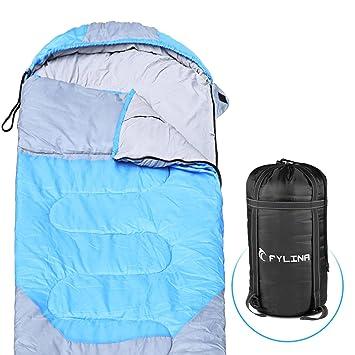 FYLINA Saco de Dormir con Bolsa de compresión, Saco de Dormir portátil Resistente al Agua para Exteriores, para Caminar, mochilear, Acampar Apto para 3 ...