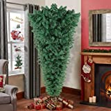 OurWarm 7ft Upside Down Artificial Christmas Tree with 1100 Branch Tips, Green PVC Xmas Tree with Foldable Metal Stand…