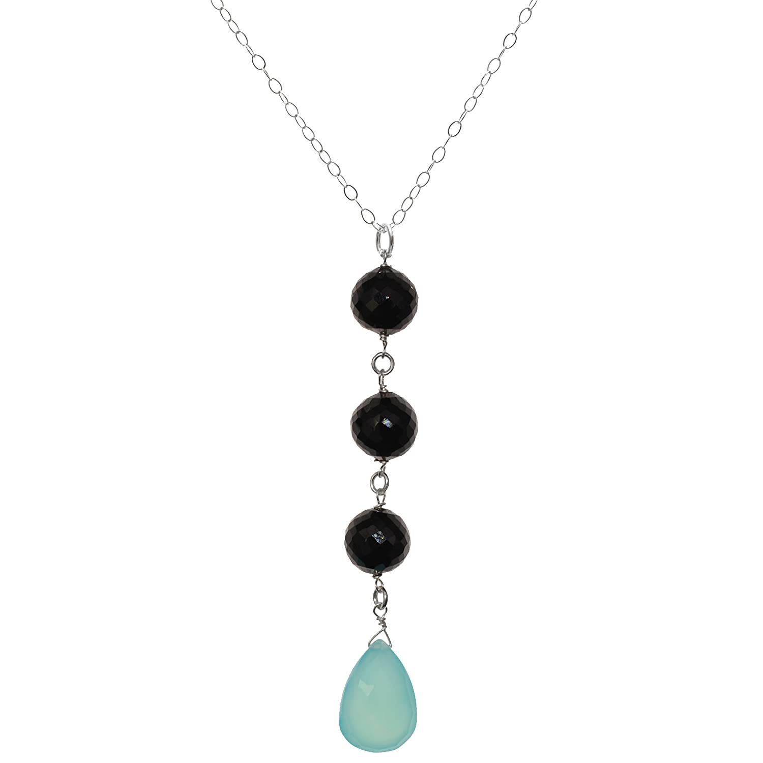 b8c2b6d0c Amazon.com: ASHANTI Aqua Blue Chalcedony and Black Spinel Natural Gemstone  Sterling Silver Handmade 18 inch Necklace: Pendant Necklaces: Jewelry
