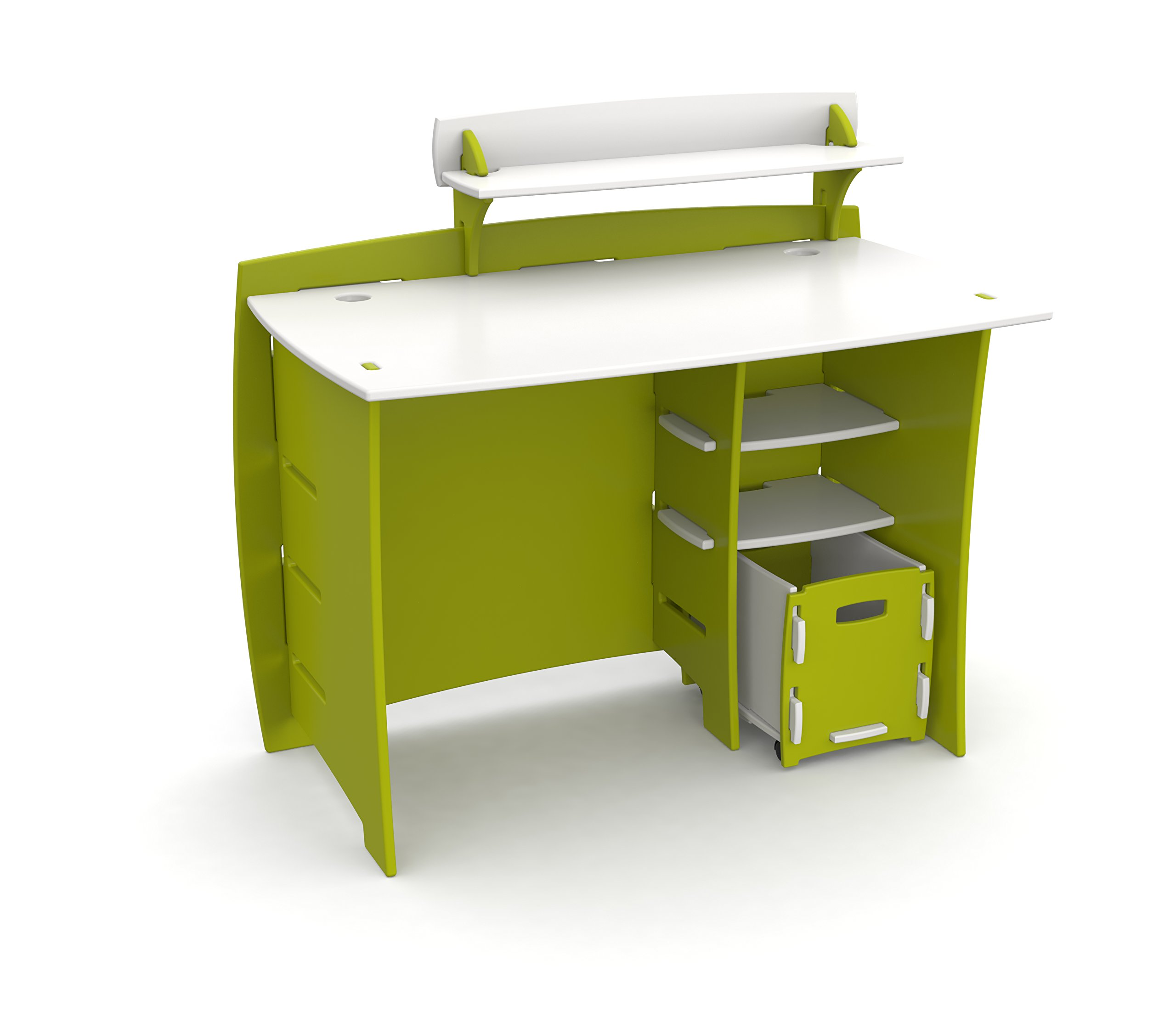 Legaré Kids Furniture Frog Series Collection, No Tools Assembly 43-Inch Complete Desk System with File Cart, Lime Green and White