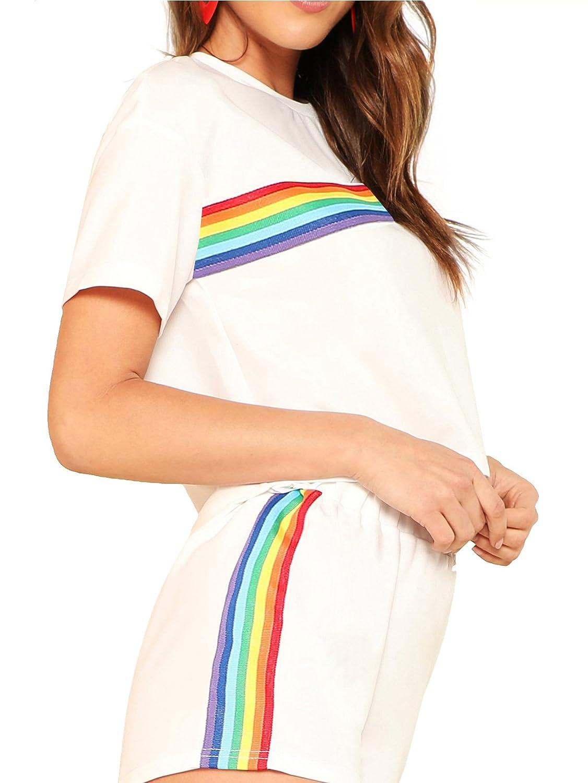 4797e64fdff Romwe Women s 2 Piece Set Rainbow Print Casual Crop Cami Top Shorts at  Amazon Women s Clothing store