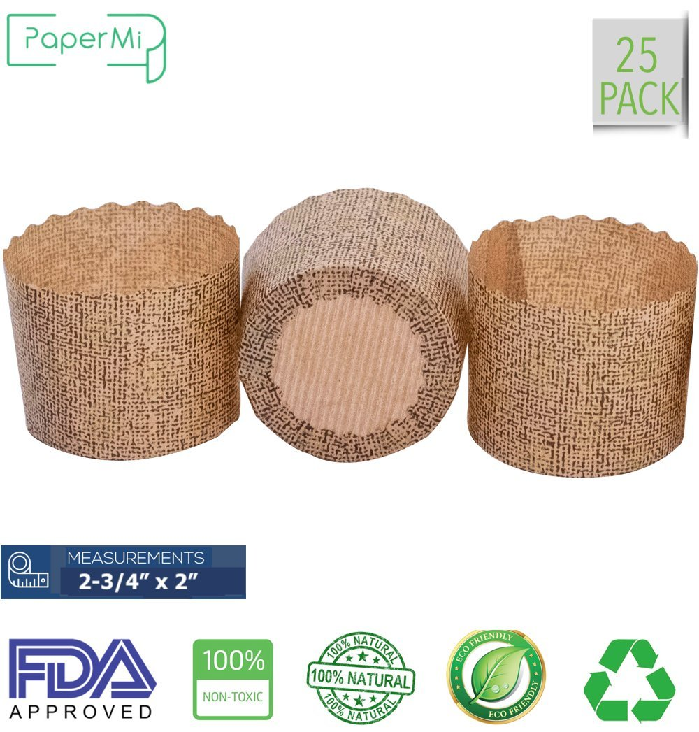 "Paper Muffin Cupcake Mold, Disposable Baking Cup Panettone paper mold 25ct, non-stick paper All Natural FDA Approved, Providing a Beautiful Display for Serving Baked Goods (2-3/4 x 2"")"