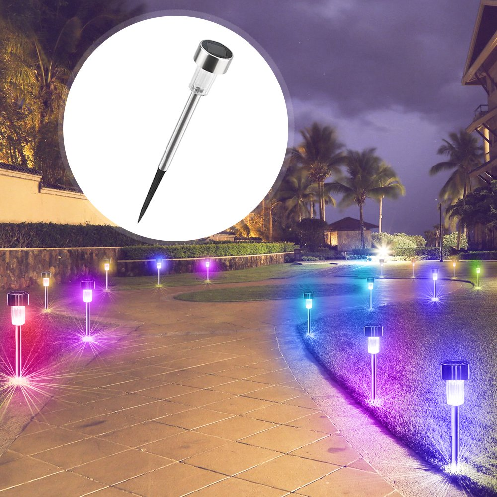 BASEIN Solar Garden Lights, Solar Lights Outdoor Pathway - Stainless Steel Landscape LED Lights for Patio, Lawn, Yard, Walkway (10 Pack) by BASEIN (Image #10)