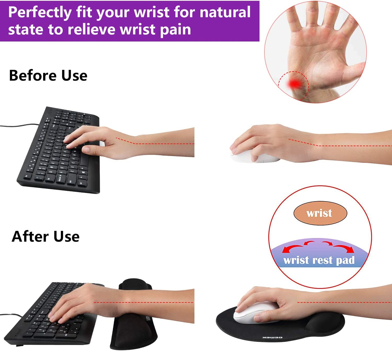 JZK Anti-d/érapant noir poignet de clavier coussin de support et tapis de souris avec support de poignet Tapis de repose-clavier pour clavier et souris avec mousse /à m/émoire de forme