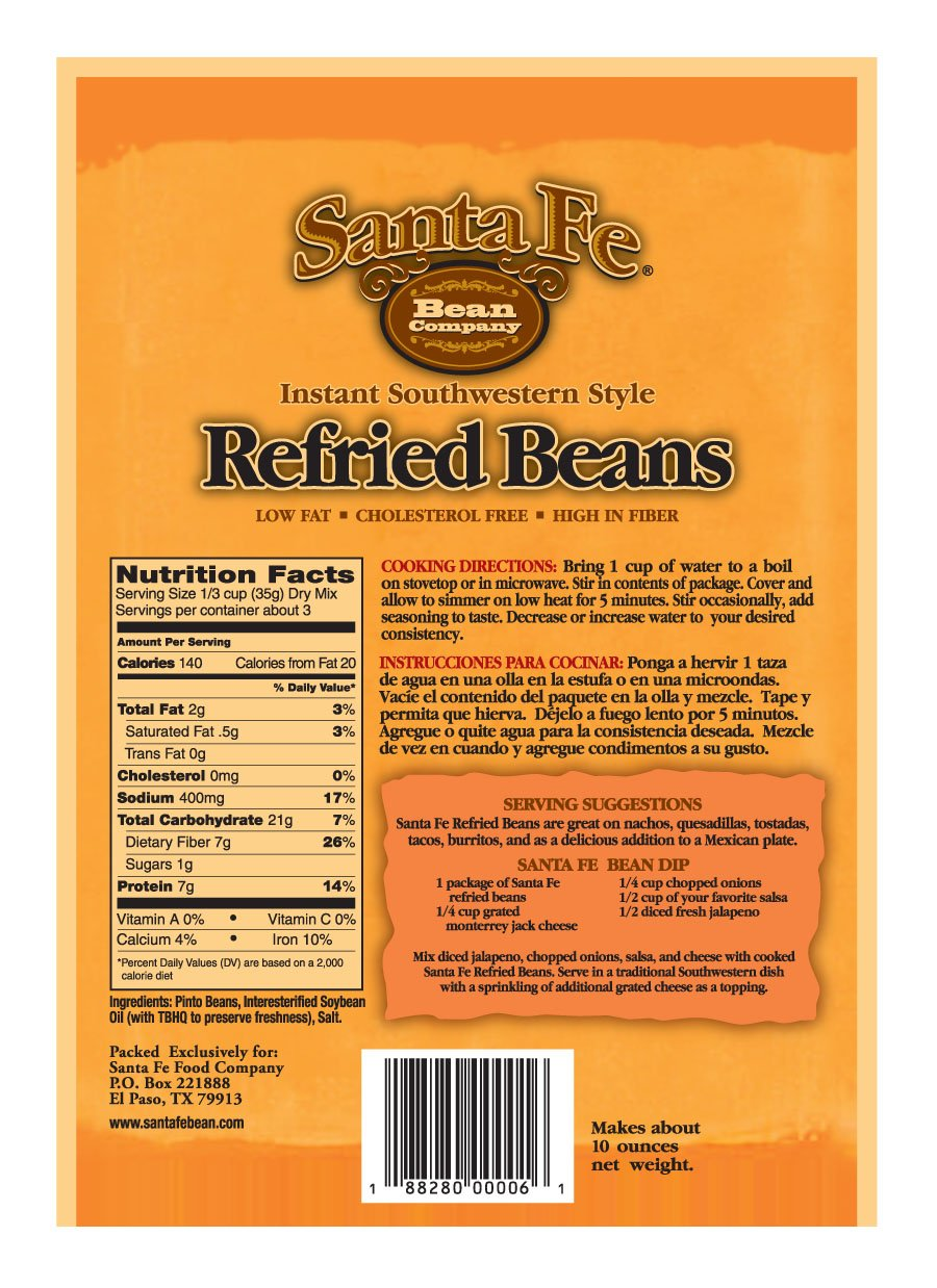 ... Beans 3.5-Ounce (Pack of 12) Instant Southwestern Style Refried Beans; High Fiber; Gluten-Free; A Great Source of Protein; Low Fat: Amazon.com: Grocery ...