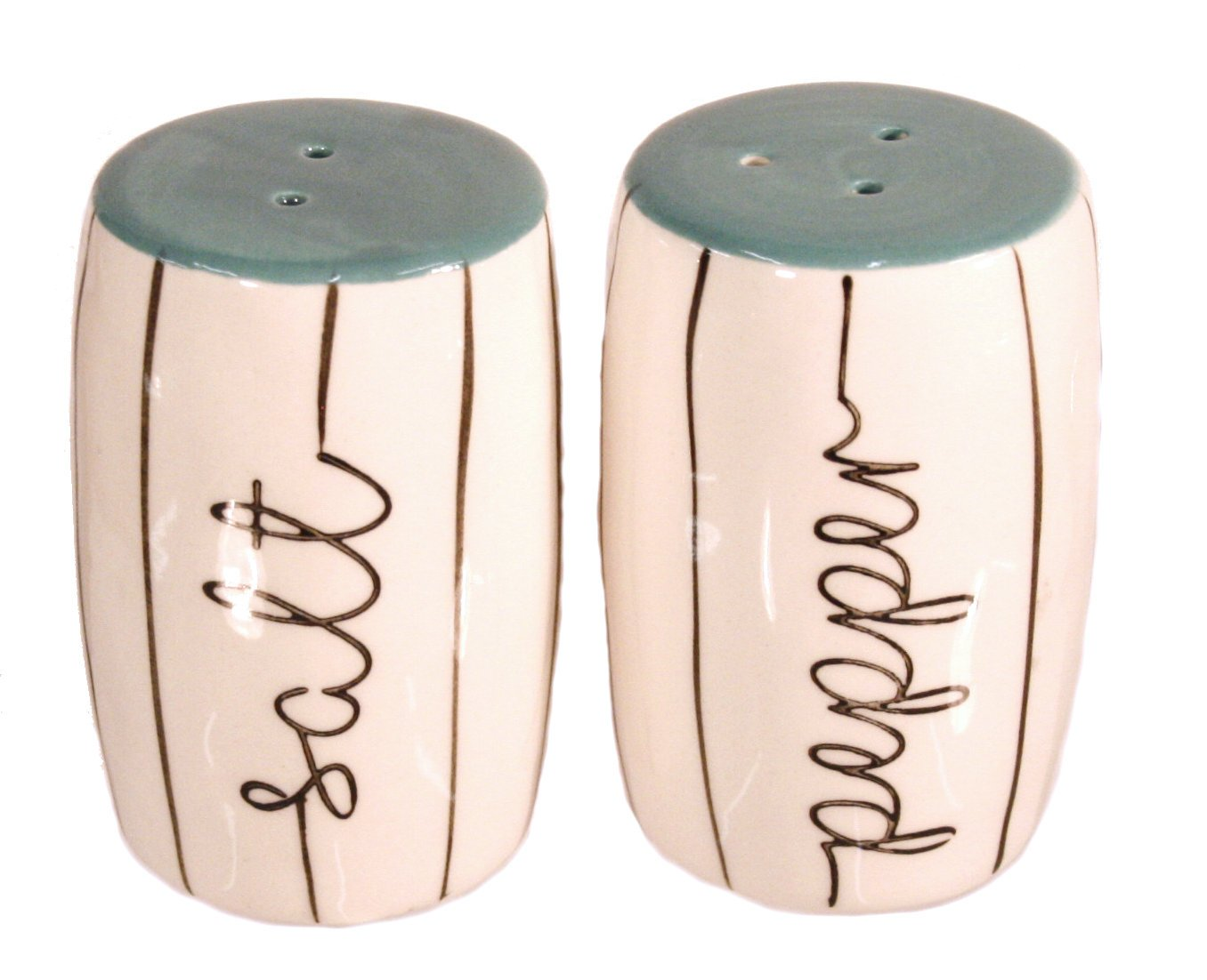 Cute Salt and Pepper Shakers with Coordinating Refrigerator Magnet Black White Turquoise